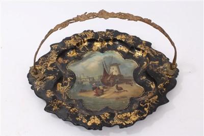 Lot 888 - Victorian papier-mâché plate named Aldborough, with gilt metal swing handle