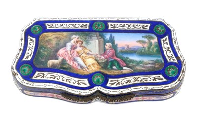 Lot 887 - 19th century Continental silver and enamel shaped box