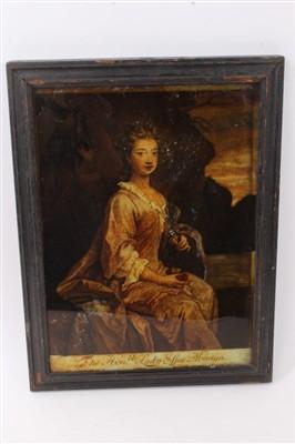 Lot 881 - 18th century reverse printed portrait of The Hon. Lady Essex Mostyn