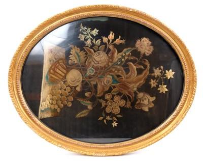 Lot 880 - Georgian silk embroidery in frame