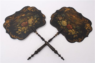 Lot 890 - Pair 19th century papier mâché screens