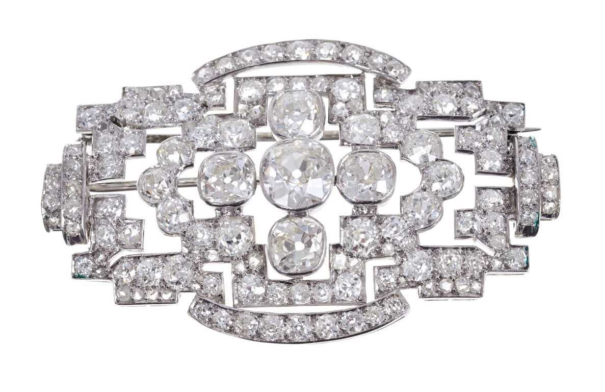 575 - Art Deco diamond plaque brooch
