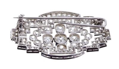 Lot 575-Art Deco diamond plaque brooch