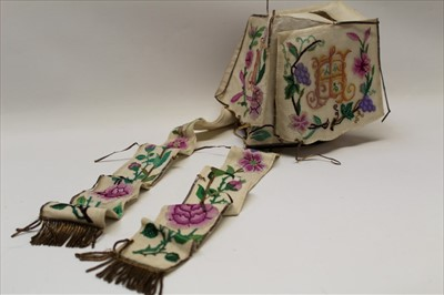Lot 3058-19th Century embroidered hat, silk net embroidered in polychrome silk thread, grape vines, flowers and two sets of initials, metal tassels. Possibly for a wedding.