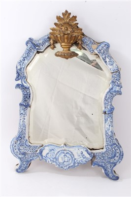 Lot 834 - Rare 18th century Dutch delft easel mirror