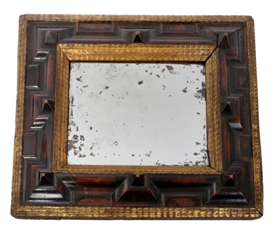 Lot 836-Unusual William and Mary style walnut and gilt gesso wall mirror