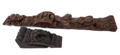 Lot 838 - 17th century carved oak furniture mount
