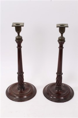 Lot 841-18th century Continental bronze pricked candlestick