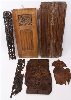 Lot 842-Group of early carved wood panels