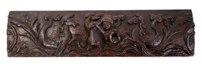 Lot 843 - 17th century carved oak frieze element
