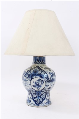 Lot 853 - 18th century Dutch delft vase converted to a lamp
