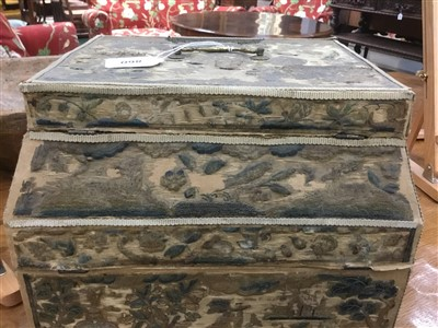 Lot 860-Rare 17th century embroidered work box