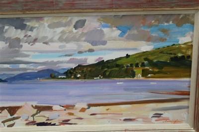 Lot 1122-*John Cunningham (1927-2000) oil on canvas - Loch Fyne From Strachur, signed, gilt frame