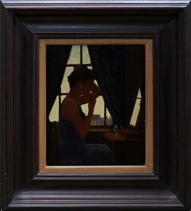 1124 - *Jack Vettriano (b.1951) oil on canvas board - Lipstick Application, signed, 30.5cm 25.5cm, framed
