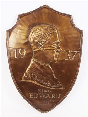 Lot 41-1930s King Edward VIII Coronation commemorative gilt metal shield embossed with profile portrait of Edward, 1937 and 'King Edward VIII' below, label to reverse, 44cm x 31cm