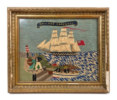 Lot 877 - Unusual 19th century sailor's woolwork picture