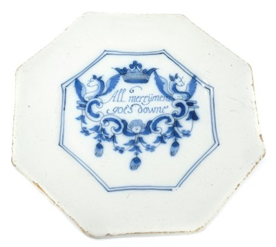 Lot 208 - Rare 17th century Delft blue and white Merryman rhyme plate of octagonal form
