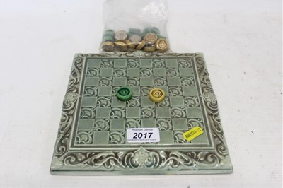 Lot 2017-Leeds Fireclay co draught board and draughts