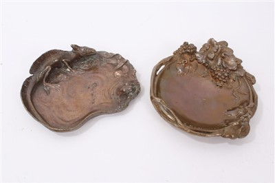 Lot 867 - French Bronze vide poche dish and another