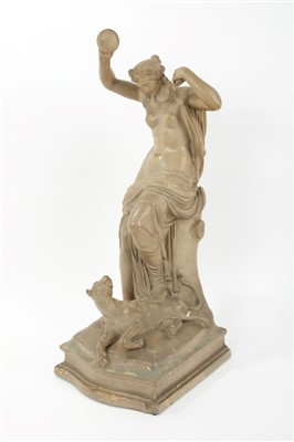Lot 865 - John Gibson R.A. (1790 - 1866), painted plaster sculpture of a semi-clad bacchante diverting the attention of a tiger at her feet with her cymbals, signed at rear - J. Gibson 1812