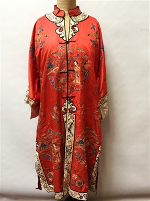 Lot 3050-Chinese silk embroidered gown and hat