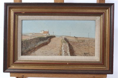 Lot 22-Ken Turner (b1926) oil on board - House and Mule In Majorca's, signed  12 x 23cm
