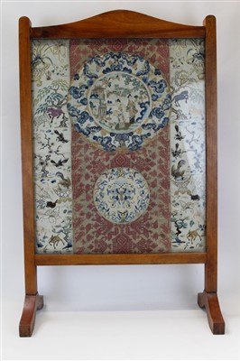 Lot 3051-Chinese hand embroidered silk roundels and panels in fire screen.