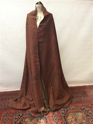 Lot 3052-Victorian fine woven wool paisley shawl with red centre and fringing.