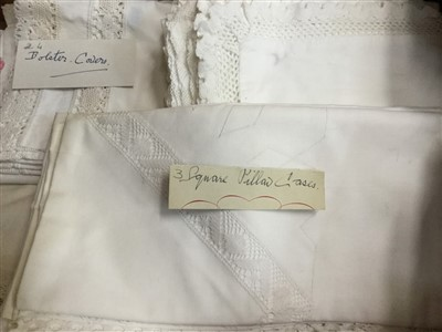 Lot 3060-Vintage embroidered and lace trimmed white cotton table clothes, tray clothes., pillow and bolsters cases..