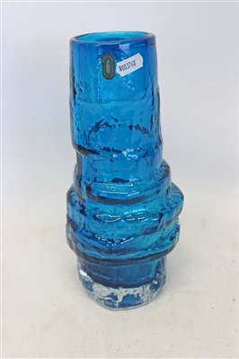 Lot 2014-Whitefriars textured hooped vase in Kingfisher blue no. 9680 with original labels designed by Geoffrey Baxter 28.5cm high