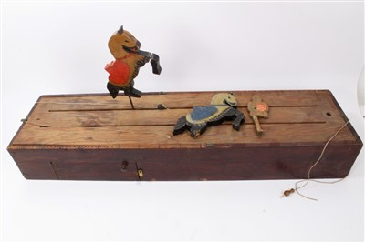 Lot 15-Late 19th / early 20th century scratch-built table game - 'Knights game'