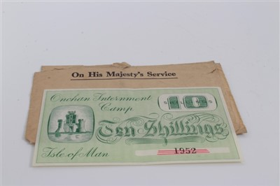 Lot 1-Isle of Man – Onchan Internment Camp Ten Shillings banknote