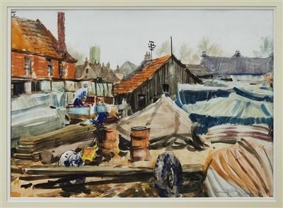 Lot 5-Harry Arthur Riley (1895-1966) mixed media on paper Woodbridge Boatyard