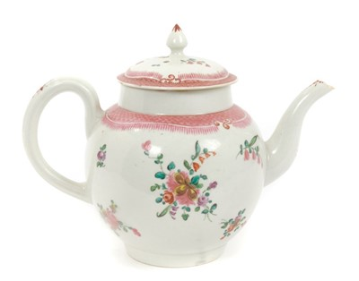 Lot 4-18th century Pennington Liverpool teapot and cover