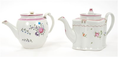 Lot 5-Two late 18th century Newhall teapots and covers