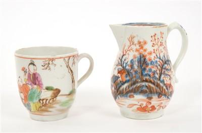 Lot 8-18th century Lowestoft sparrow-beak cream jug and Lowestoft polychrome decorated coffee cup