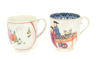 Lot 10-18th century Worcester polychrome coffee cup and another coffee cup