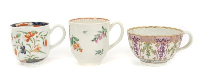 Lot 11-Fine 18th century Worcester fluted tea cup and two other Worcester coffee cans