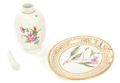 Lot 12-18th century Worcester tea caddy, botanical armorial oval dish, moulded blanc-de-chine fork handle