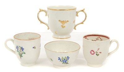 Lot 13-18th century Caughley chocolate cup, two Caughley coffee cups and tea bowl