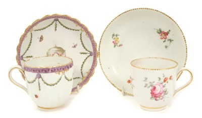 Lot 14-Two Chelsea Derby coffee cups and saucers