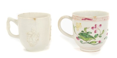 Lot 15-18th century Bow polychrome decorated coffee cup and a Bow blanc-de-chine coffee cup