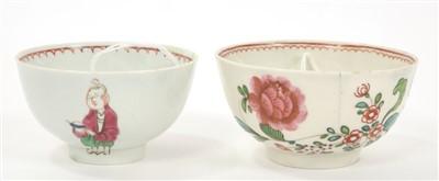 Lot 19-Two 18th century Pennington Liverpool polychrome tea bowls
