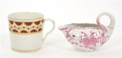 Lot 20-Late 18th century Pinxton coffee can and a Derby polychrome leaf-moulded cream boat