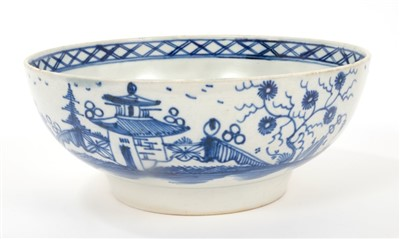 Lot 21-Scarce 18th century blue and white bowl - possibly Bovey Tracey - Indeo pottery