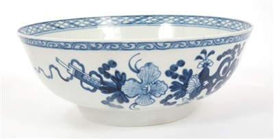 Lot 22-18th century Christians Liverpool blue and white bowl