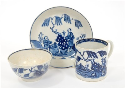 Lot 23-18th century Pennington Liverpool blue and white tea bowl, coffee can and saucer