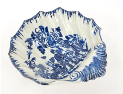Lot 24-Large 18th century Pennington Liverpool blue and white shell-shaped pickle dish