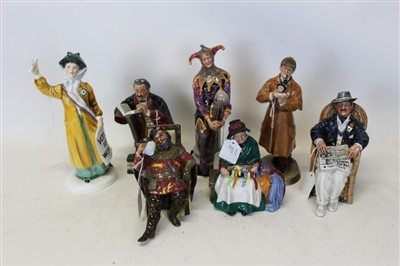 Lot 2011-Seven Royal Doulton figures- The Jester HN2016, Taking Things Easy HN2677, The Professor HN2281, The Foaming Quart HN2162, The Detective HN2359, Votes For Women HN2816 and Silks and Ribbons HN2016 (7)