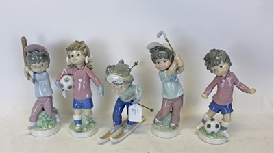Lot 2013-Five Lladro Sport Billy figures